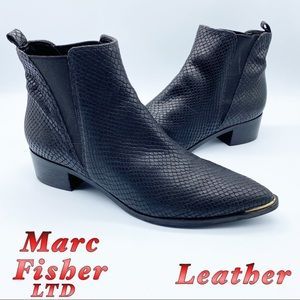 Marc Fisher LTD Leather Black Snake Embossd Boot 8